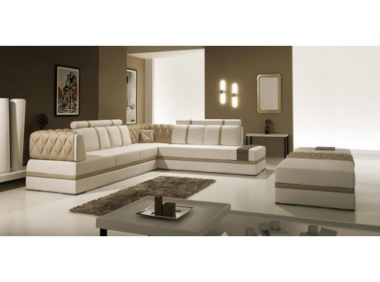 Urban Chic Modern Style Bonded Leather Sectional Sofa  5013 Modern Taupe Leather Sectional Sofa