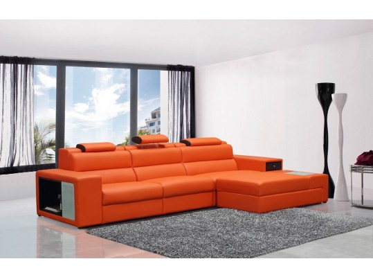 Polaris Mini - Contemporary Bonded Leather Sectional Sofa Color Orange