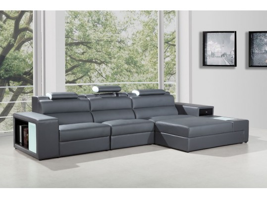 Polaris Mini - Contemporary Bonded Leather Sectional Sofa Color Grey