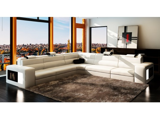 Luxury Modern  Italian Leather Sofa  Sectional  in white