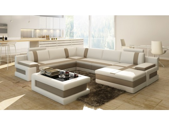 Modern White Bonded Leather Sectional Sofa w/ Coffee Table