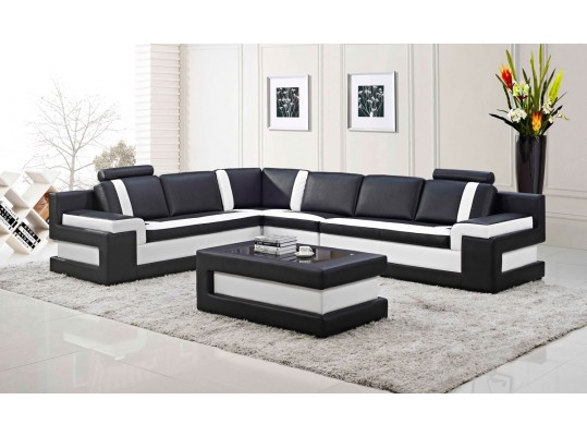 Modern Leather Sectional Sofa w/ Coffee Table