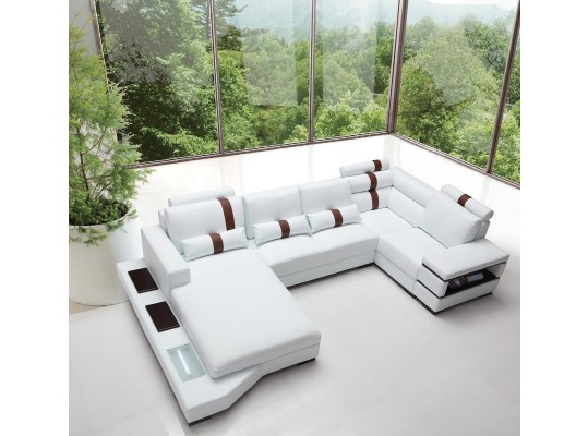 Contemporary Leather Sectional Sofa With Light