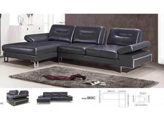 Divani Casa Carmel - Modern Black Italian  Leather Sectional Sofa with Adjustable Backrests