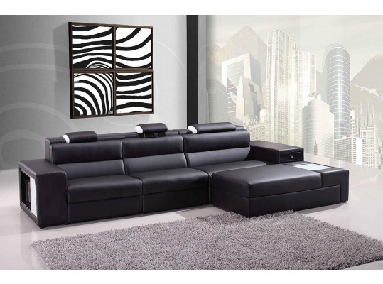 Sectional Sofa Polaris Black Bonded Leather 5022B
