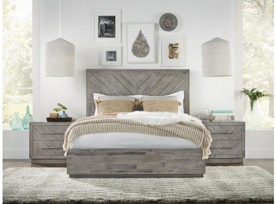 Alexandra Rustic Latte Queen  Storage Bed