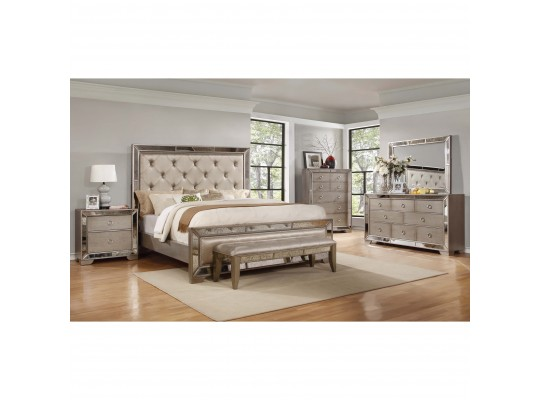 Ava Mirrored Silver Bronzed 5-Piece Bedroom Set  Queen size