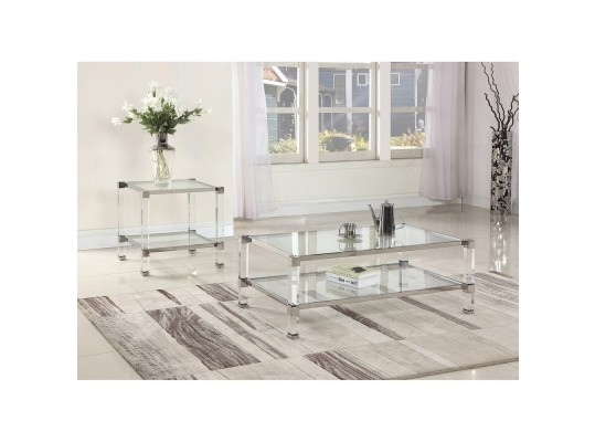 GW122  Monroe Clear Glass with Acrylic Legs Living Room Coffee Table