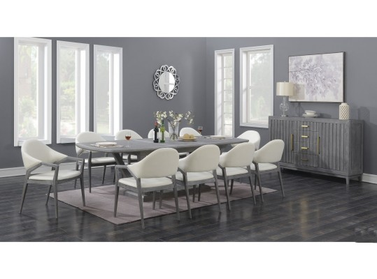 Carrera  Dining Table with White Faux Leather Arm Chairs by Emerald  Butterfly Leaf Dining Table
