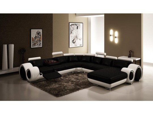 Modern Black and White Frame Sectional Sofa