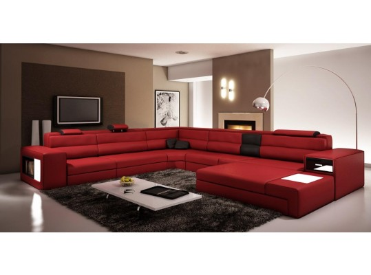 Modern Italian Polaris - leather sofa in dark red
