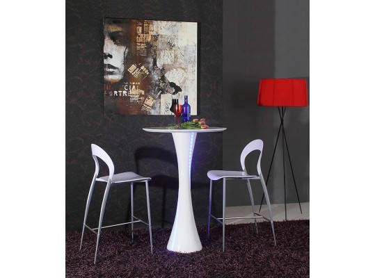 Twirl - White Contemporary LED Gloss Bar Table only