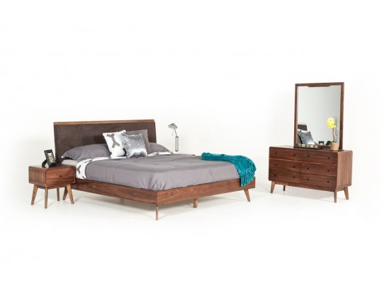 Modern Style Retro Mid-Century Modern Brown Fabric & Walnut Bed