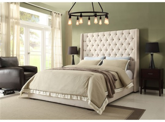 Desert Sand Queen Size  Linen Tufted Platform Bedroom