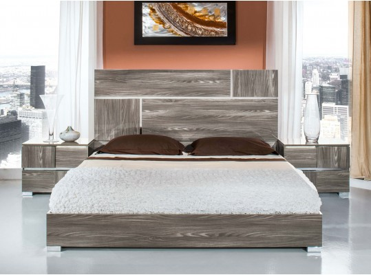 Modrest Picasso Italian Modern Grey Lacquer Bed