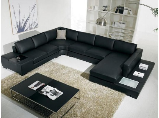 Black Modern Sectional Living Room in Italian Bonded Leather Sectional Contemporary Sofa