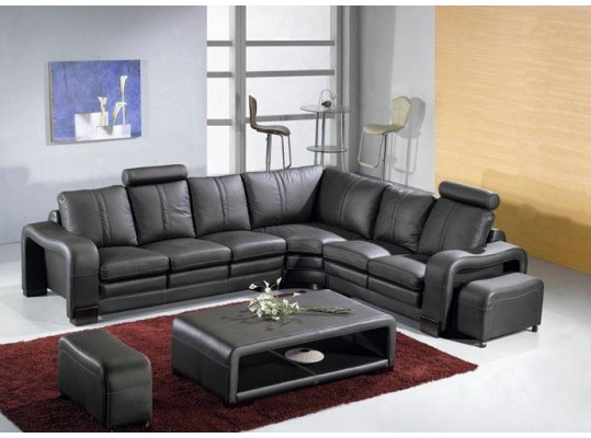 Italian Leather Sectional Sofa Set Modern Living Room