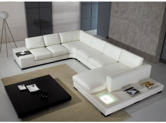 Living Room T35 Ultra Modern White or Black Leather Sectional Sofa With Lights