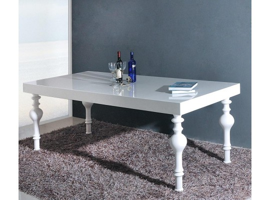 Nayri - Transitional White Rectangular High Gloss Dining Table