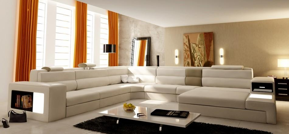 Beige Italian Leather 5022 Polaris Living Room Sectional Sofa Modern Style